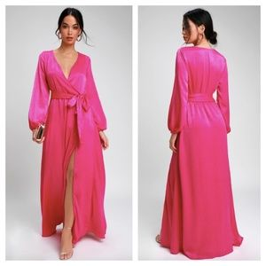 [Lulu's] Fuchsia Pink Satin Acadiana Maxi Dress